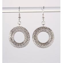 BTQ Mixed Metal Mesh Ring Earrings - Silver