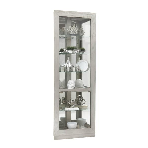 Asymmetrical Two Door Corner Curio Cabinet in Soft gray