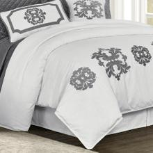 Madison White Linen Duvet Cover, Gray - Super Queen