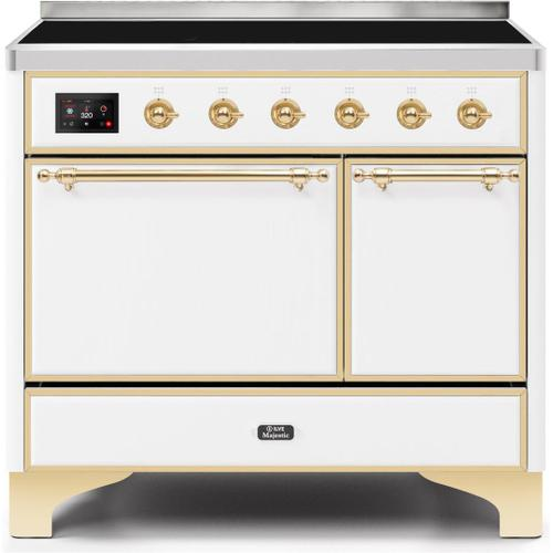 Ilve - Majestic II 40 Inch Electric Freestanding Range in White with Brass Trim