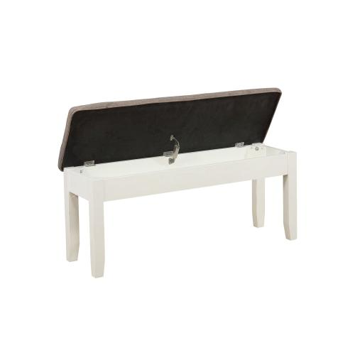 Upholstered Seat and Lift Top Storage Bench, White