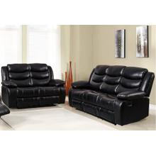 8055 BLACK 2PC Air Leather Living Room SET