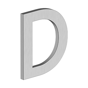 """Deltana - 4"""" LETTER D, B SERIES WITH RISERS, STAINLESS STEEL - Brushed Stainless"""
