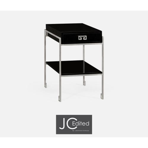 Silver Iron End Table with Smoky Black Drawer