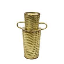 "Dimpled Gold Vase W/ Handles 16"""