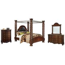 California King Poster Bed With Canopy With Mirrored Dresser and Chest