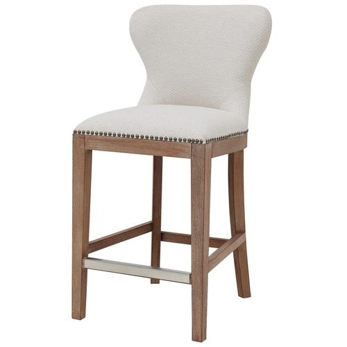 Dorsey Fabric Counter Stool Drift Wood Legs, Cardiff Cream