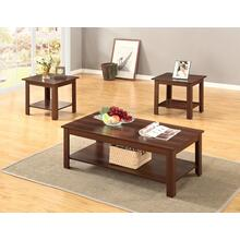 3PC DARK OAK COFFEE & END TABLE SET