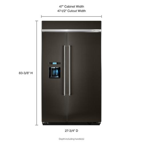 Product Image - 29.5 cu. ft 48-Inch Width Built-In Side by Side Refrigerator with PrintShield™ Finish - Black Stainless Steel with PrintShield™ Finish