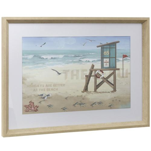 Style Craft - THE BEACH  17in w X 23in ht  Framed Print Under Glass with Matte