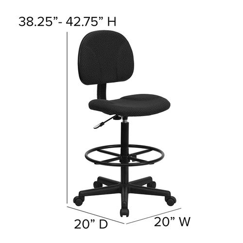 Gallery - Black Patterned Fabric Drafting Chair (Cylinders: 22.5''-27''H or 26''-30.5''H)