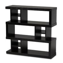 See Details - Baxton Studio Dora Modern and Contemporary Dark Brown Finished Wood 3-Tier Geometric Bookshelf