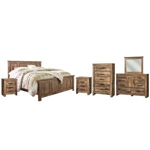 King Panel Bed With Mirrored Dresser, Chest and 2 Nightstands