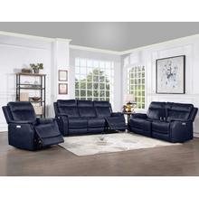 See Details - Valencia 3-Piece Dual-Power Ocean Blue Reclining Set (Sofa, Loveseat & Chair)