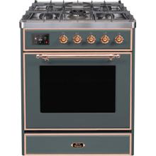 See Details - Majestic II 30 Inch Dual Fuel Natural Gas Freestanding Range in Blue Grey with Copper Trim