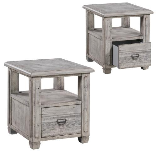 Crestview Collections - Pembroke Plantation Recycled Pine White Wash 1 Drawer Rectangle End Table
