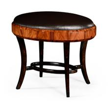 Art Deco Satin Dressing Stool, Upholstered in Dark Chocolate Leather