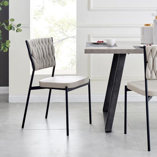 Leander KD Fabric/ PU Dining Side Chair, Alpine Light Gray/ Fairfax Gray