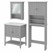 See Details - 32W Bathroom Vanity Sink with Mirror and Over Toilet Storage Cabinet, Cape Cod Gray