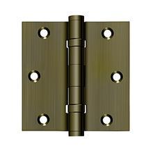"3-1/2"" x 3-1/2"" Square Hinge, Ball Bearings - Antique Brass"