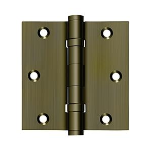 """Deltana - 3-1/2"""" x 3-1/2"""" Square Hinge, Ball Bearings - Antique Brass"""