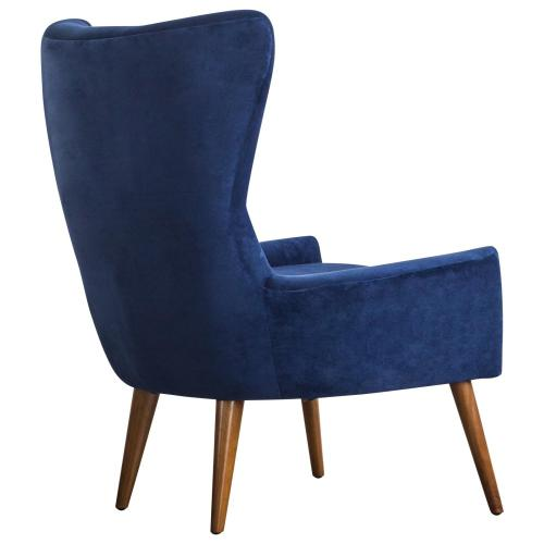 Arya KD Velvet Fabric Accent Chair Wooden Legs, Navy Blue