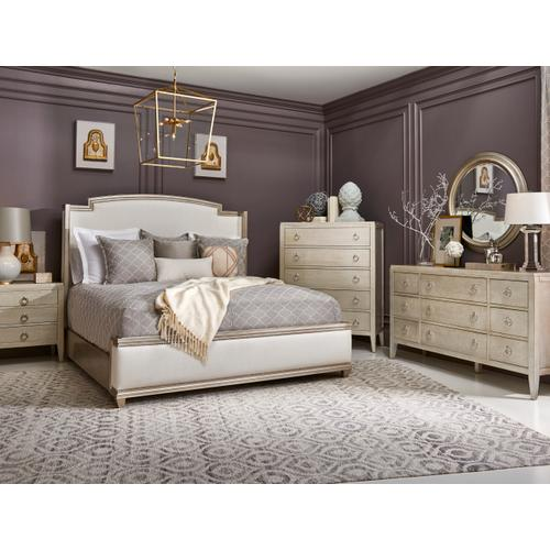 A.R.T. Furniture - Miles Upholstered Queen Bed Powder Glam Polished Nickel