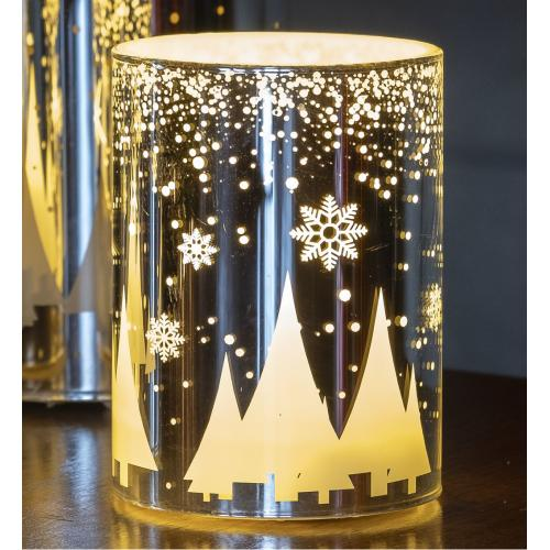 "4"" Silver Snowfall LED Candle"