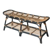 Damara Rattan Bench w/ Shelf, Black