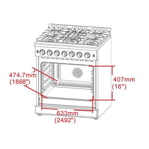 "30"" Gas Range FORNO ALTA QUALITA Pro-Style Gas 5 DEFENDI Italian Burners 68,000 BTU All 304 Stainless Steel FFSGS6239-30"