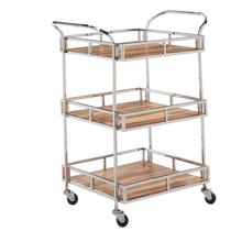 "S/STEEL ACACIA WD BAR CART 29""W, 34.5""H"
