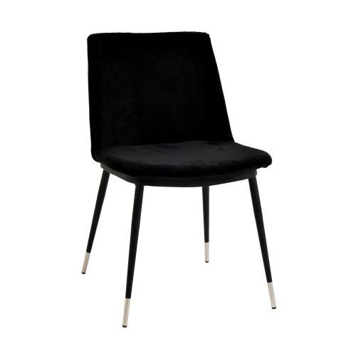 Evora Black Velvet Chair - Silver Legs (Set of 2)