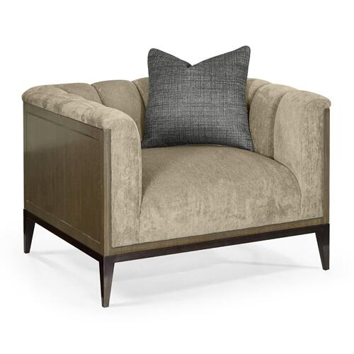 "39 1/2"" Gatsby Square Fluted Dark Grey Walnut Sofa Chair, Upholstered in King Kong"
