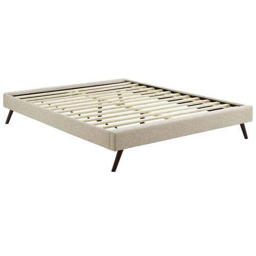 Loryn King Fabric Bed Frame with Round Splayed Legs in Beige
