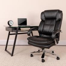 View Product - Big & Tall Office Chair  Black LeatherSoft Swivel Executive Desk Chair with Wheels