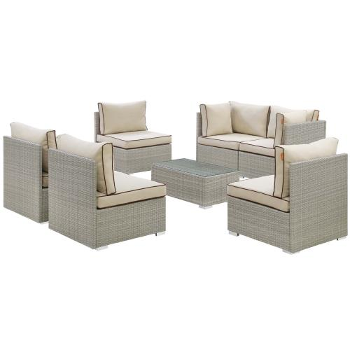 Modway - Repose 7 Piece Outdoor Patio Sectional Set in Light Gray Beige