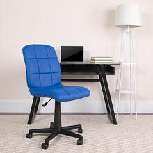 View Product - Mid-Back Blue Quilted Vinyl Swivel Task Office Chair