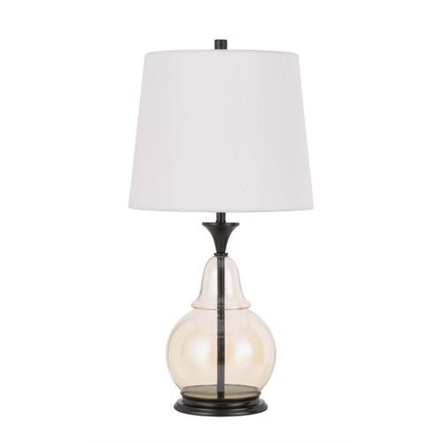 150W 3 way Kittery glass table lamp with hardback fabric shade