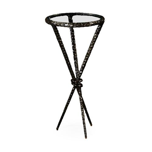 Bronze hammered iron circular wine table tripod base