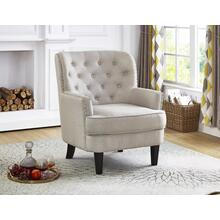 BEIGE ACCENT CHAIR WITH NAILHEAD