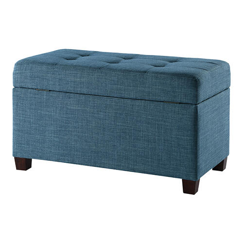 Fabric Storage Ottoman In Blue