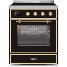 Majestic II 30 Inch Electric Freestanding Range in Glossy Black with Brass Trim