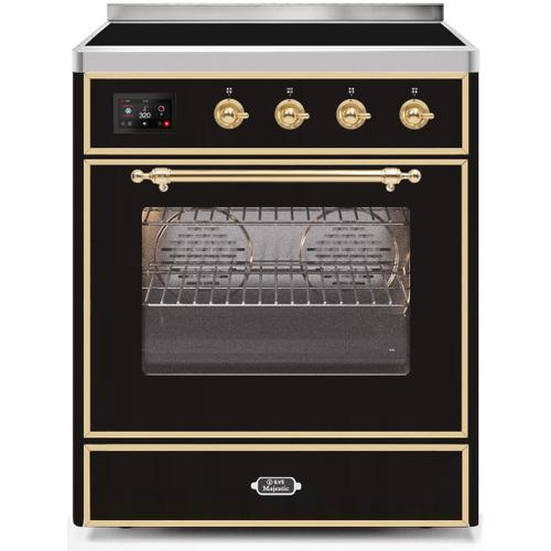 Ilve - Majestic II 30 Inch Electric Freestanding Range in Glossy Black with Brass Trim