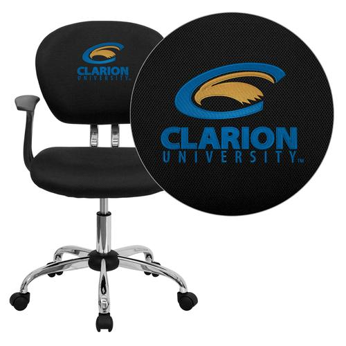 Clarion University of Pennsylvania Golden Eagles Embroidered Black Mesh Task Chair with Arms and Chrome Base