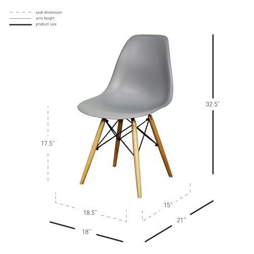Allen Molded PP Chair Maple Dowel Legs, Gray