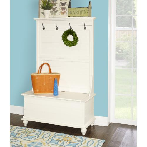 4 Mounted Hooks and Hinged Storage Seat Hall Tree, White