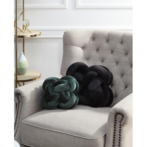Gila Black and Emerald Velvet Knot Pillows - Set of 2