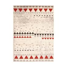 Step One - Geometric Triangles Area Rug, Beige and Red, 5' x 7'