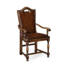 Dark Oak High Back Arm Chair with Dark Antique Chestnut Leather Upholstery