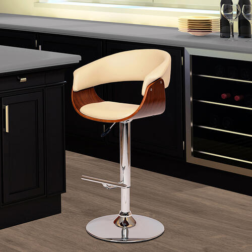 Armen Living Paris Swivel Barstool In Cream PU/ Walnut Veneer and Chrome Base